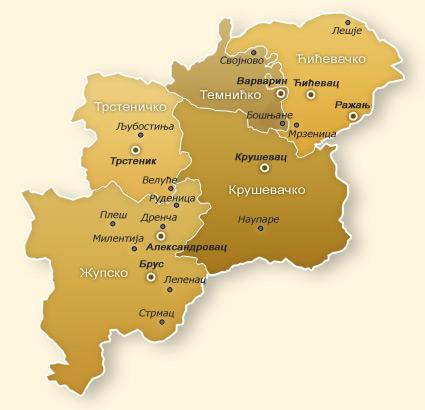 Епархија крушевачка - мапа