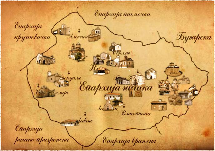 Епархија Нишка - мапа