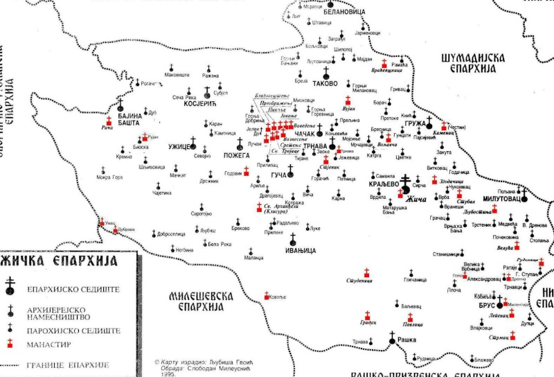 Епархија Жичка - мапа